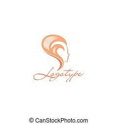 Isolated abstract women head side view vector logo. Pink color hairstyle vector illustration on the white background. Beauty salon logotype.