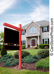 Real Estate For Sale Sign - A nice luxury home with a blank...