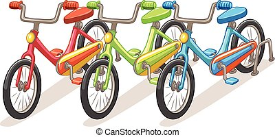 Three bicycles in different colors illustration