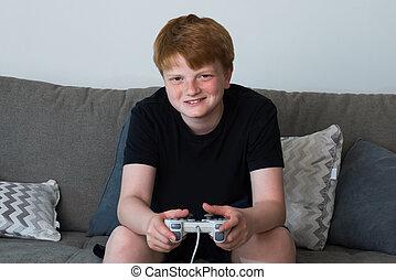 Portrait Of Happy Boy Playing Videogames - Portrait Of Happy...