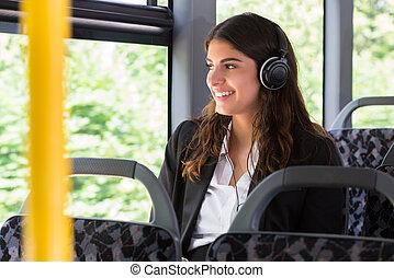 Businesswoman Listening Music - Happy Businesswoman...
