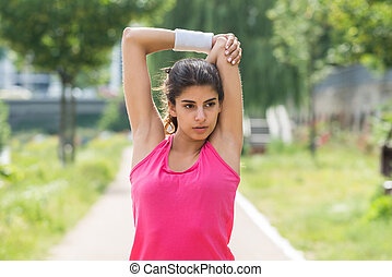 Woman Doing Morning Exercise - Sporty Young Woman Doing...