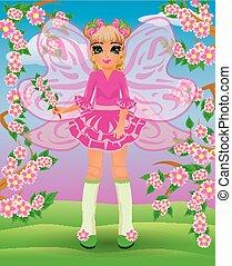 Spring little fairy girl, vector