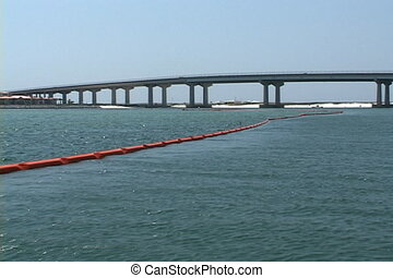 Oil Booms At Perdido Pass - Oil booms stretch across the...