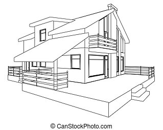 Cottage perspective. The drawing of the building. 3D....