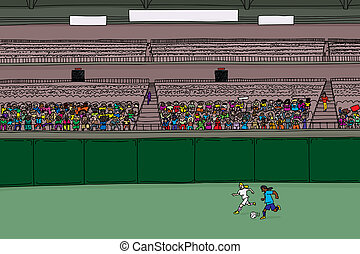 Soccer Players and Diverse Crowd at Stadium - Illustration...
