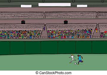 futbol, jugadores, y, diverso, multitud, en, estadio
