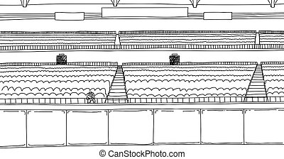 Outline drawing of one fan at empty stadium - Cartoon...