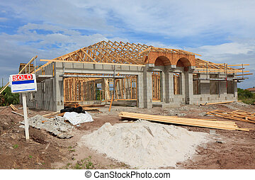 New Construction Block home - Block home with roof trusses...