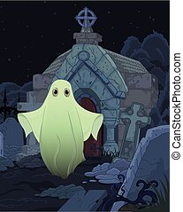 Ghost - Halloween illustration of cute ghost on cemetery...