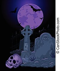 Halloween Tomb - Illustration of Halloween scary background