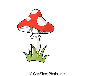 Poisonous red dotted mushroom, known as amanita muscaria or...
