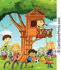 Kids playing in the treehouse illustration