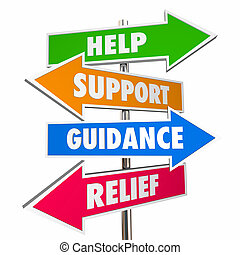 Help Support Guidance Relief Assistance Words Signs 3d Illustration