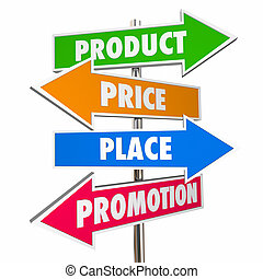 Product Price Place Promotion 4 Ps Marketing Signs 3d...