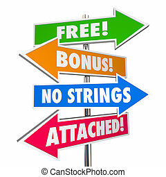 Free Bonus No Strings Attached Signs Words 3d Illustration