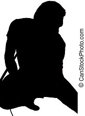 Silhouette of Male Guitar Player Vertical Image Composition