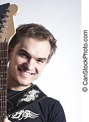 Music Concepts and Ideas Portrait of caucasian Male Guitar...