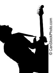 Silhouette of Male Guitar Player Vertical Shot