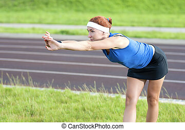 Young Red Haired Ginger Caucasian Female in Athletic...