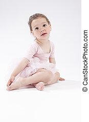 Portrait of Little Cute Caucasian Girl Posing Against White...