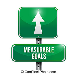 measurable goals road sign concept illustration design...