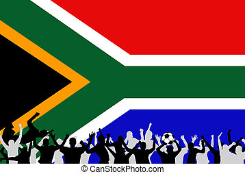 Image of a team soccer/football celebration with the flag from South Africa.
