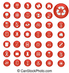 Image of various icons on red buttons