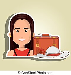 woman suitcase travel location vector illustration eps 10