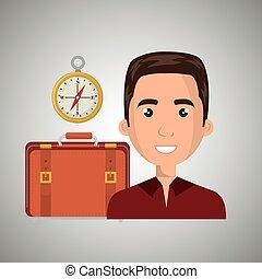 man suitcase travel location vector illustration eps 10