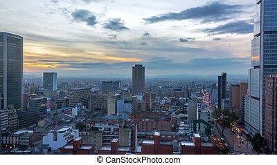 Downtown Bogota Time Lapse - Day to night time lapse in...