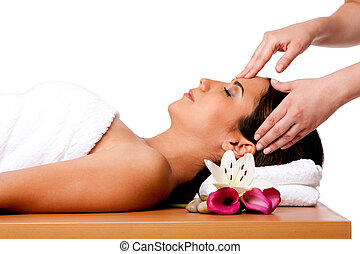 Facial massage in spa - Beautiful happy peaceful sleeping...