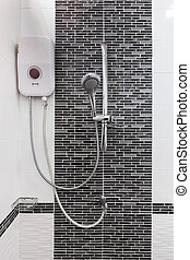 shower and water heater in bathroom - shower and water...