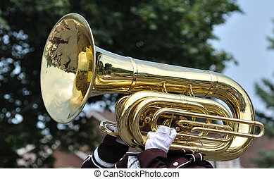 Playing Marching Tuba in Parade - Performer Playing A...