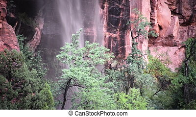 Waterfall after a Storm - Waterfall falling after a severe...