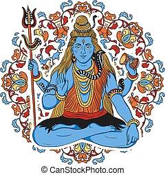Indian god Shiva over ornate mandala background. Concept...