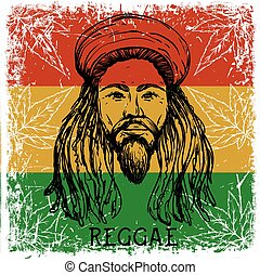 Portrait of rastaman on grunge background and cannabis...