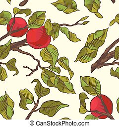 Hand drawing an apple branch. Vector seamless pattern