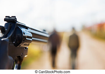 you with a gun aiming to people
