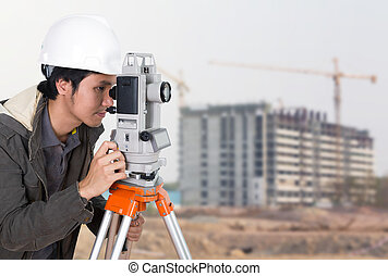 Engineers use tacheometer or theodolite with building...