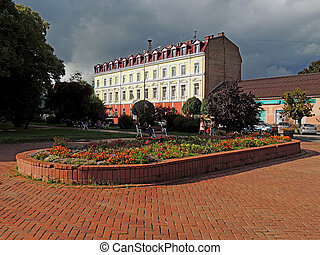 Uzhgorod - Economic High School on Petofi square in...