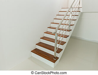 Interior - wood stairs and handrail in house
