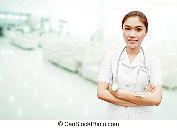 nurse with stethoscope in hospital