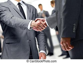 握手, 概念, ビジネス, 人々, 企業である, 議論, ミーティング