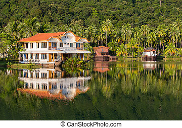 Tropical home, coconut palm trees and lake water - Exotic...