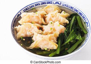 Shrimp won-ton soup on background