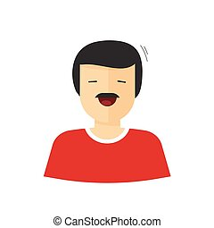 Happy man vector illustration isolated, flat cartoon smiling...
