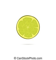 Lime slice vector icon isolated on white background