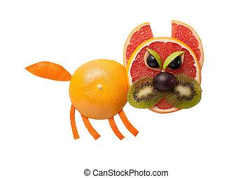 hecho, enojado, aislado, gato, Plano de fondo, frutas
