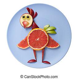 divertido, pollo, hecho, de, frutas, en, azul, placa